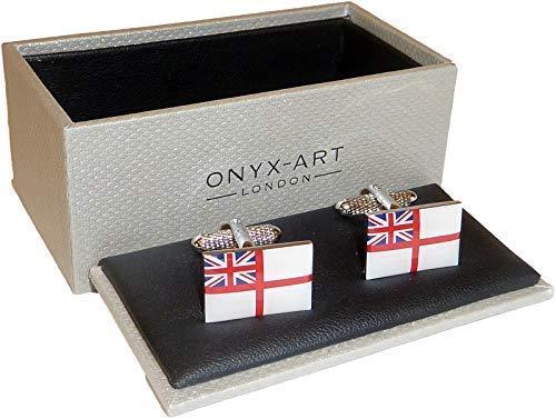 Marine Royale blanc insigne drapeau boutons dans manchette Onyx Art Boutons de manchette boîte