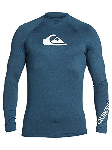 Quiksilver Men's All TIME LS Long Sleeve Rashguard SURF Shirt, Majolica Blue Heather, X-Large