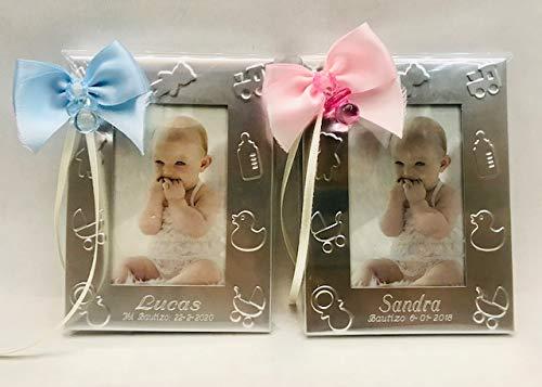 Portafotos PERSONALIZADOS para bautizo marcos pequeños niño/niña GRABADOS (pack 15 unidades)