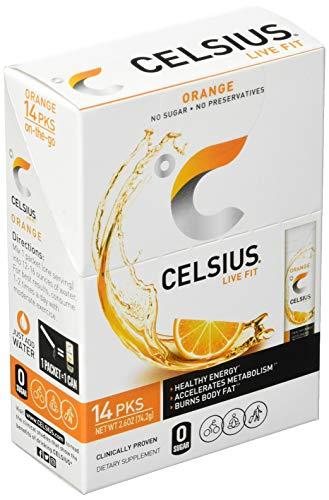 CELSIUS On-the-Go Powder Stick Zero Sugar (14 Sticks per Pack), Orange, 2.6 Oz