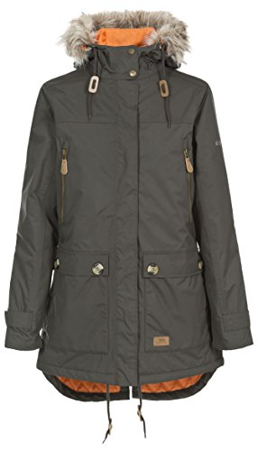 Trespass Clea, Dark Khaki, L, Waterproof Jacket with Concealable Hood for Women, Large, Green