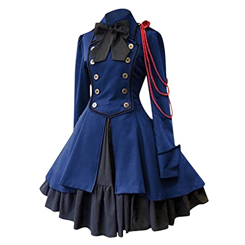 XUETON Gothic Dresses for Women Renaissance Medieval Costume Dress Vintage Bow Ruffle Embroidery Long Sleeve Dress Blue