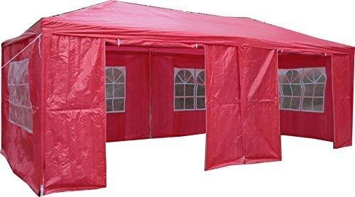 Airwave Pavillon, 3 x 6 m, rot, Inklusive 2 x einzigartig gestalteter Windstangen für besondere Stabilität