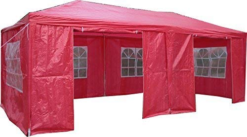 Airwave 3 x 6m Party Tent Gazebo Marquee with 2  x  Unique WindBars and Side Panels 120g Waterproof Canopy, Red, 120g