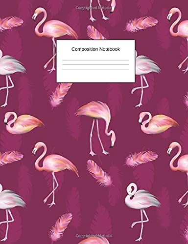 Composition Notebook: Purple Flamingo College Ruled Journal - Back to School Diary Planner Gift Students Teachers Boys Girls 100 sheets- Add On Item