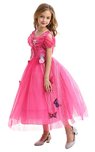 GREAMBABY Princess Dress UP Fancy Costume Christmas Birthday Party Halloween Dress Outfit for Little Girls (5T, butterfly Pink)