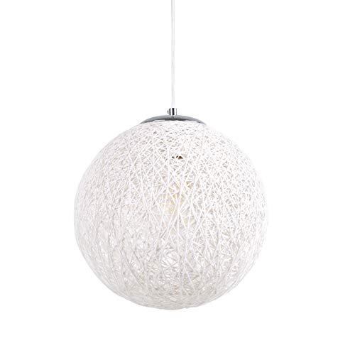 Huahan Haituo Moderne Schwarz Gitter Wicker Rattan Globus Ball Stil Decke Pendelleuchte Lampenschirm Home Esszimmer Dekoration Lampen (Weiß, 23cm)