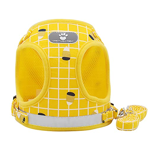 Dog Harness,No Choke Front Lead Dog Reflective Harness Adjustable Soft Padded Pet Vest with Easy Control Handle for Small to Large Dogs Best Pet Supplies (M, Yellow)