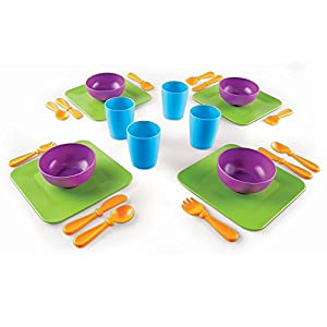 Learning Resources New Sprouts Serve It! Dish Set, Early Social Interactions, 24 Piece, Ages 2+,Multicolor,7 L x 7 W in - 41aGqzXNaSL - Learning Resources New Sprouts Serve It! Dish Set, Early Social Interactions, 24 Piece, Ages 2+,Multicolor,7 L x 7 W in