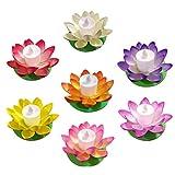 7pcs LED Lanterna di Lotus galleggiante 11.5cm che desiderano luce della candela del gigli...