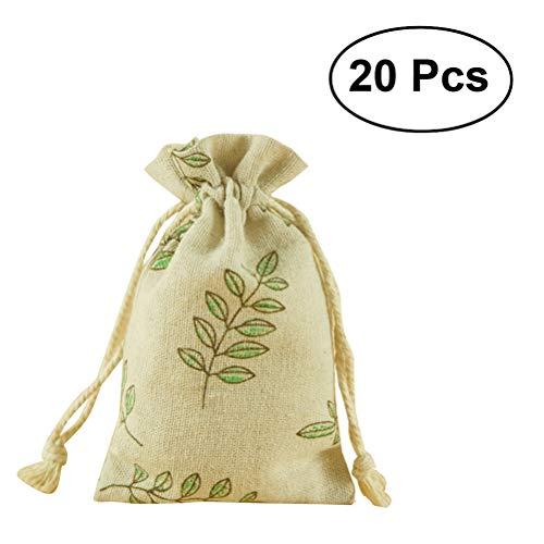 BESTOMZ Natur Jutesäckchen 20 Stück Baumwollbeutel 9 CM *12 CM Leinen-Säckchen Perfekt für Lavendelblüten , Schmuck