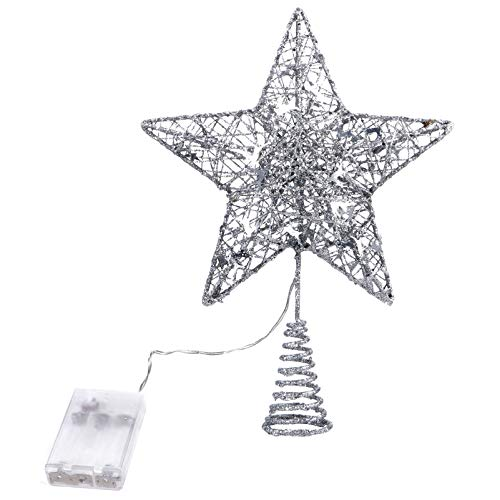 Uonlytech Hollow Wovean Silver Star Led Glitter Shiny Christmas Tree Topper for Crown Xmas Tree Topper Decoration Decor