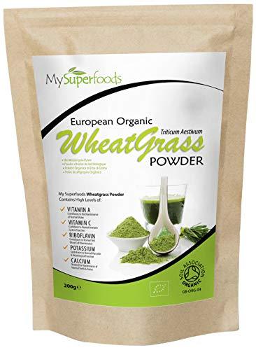 Bio Weizengras Pulver (200g), MySuperFoods, Zertifiziertes Bio, Quelle für Vitamin E, Kalzium, Eisen, Zink, Ballaststoffe Leistungsstarke Antioxidans, Hochwertigstes Pulver erhältlich