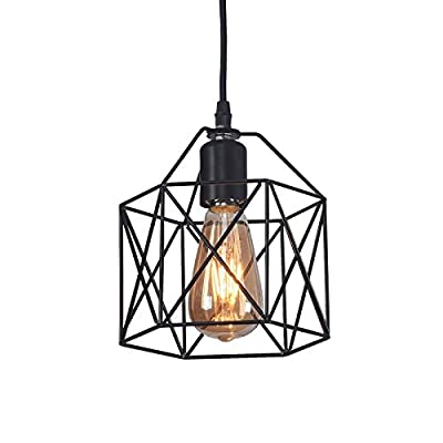 Wideskall Industrial Metal Iron Frame Lantern Mini Hanging Pendant Light 1-Bulb Lighting Fixture, Matte Black Finish, UL Certificated