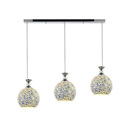 LLLKKK Candelabro mediterráneo restaurante araña tres lámparas de cristal estilo jardín comedor iluminación creativa bar arte lámpara de mesa azul y blanco porcelana cristal araña E27 (color: A)