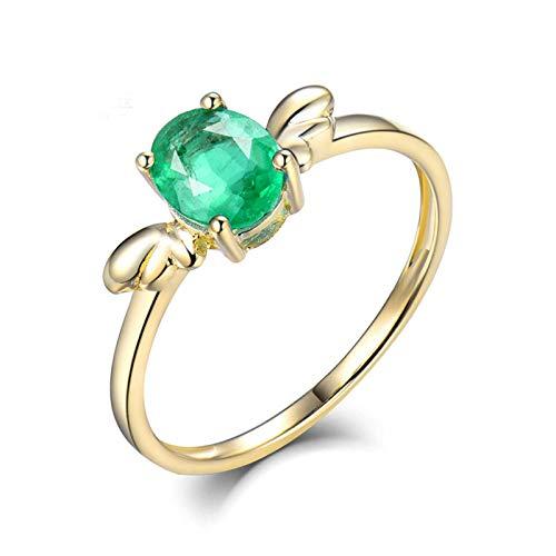 Bishilin Ringe für Damen 585, Flügel mit 0.6ct Smaragd Eheringe Gold Hochzeit Ringe Echt Gold Große 63 (20.1)