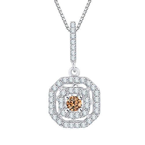 Collar con colgante de diamante y centro de color marrón en oro o plata (1/4 quilates) (color GH, claridad I2-I3)