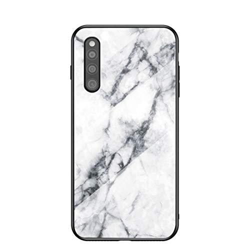 MadBee für Samsung Galaxy A41 Hülle [mit HD-Schutzfolie], Marmor Kratzfeste 9H Glas Back & TPU Silikon Rahmen und weichem Bumper Stoßabsorbierende Schutzhülle (Marmor 1)