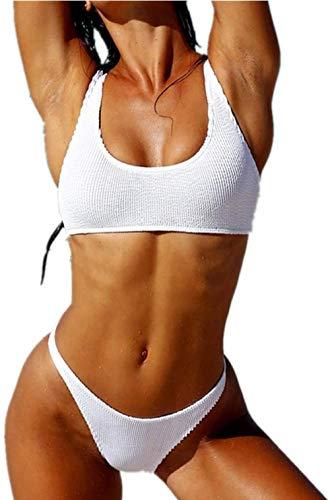 Women's split badpak, open rug laagbouw bikini, kleuraanpassing Special linnen Twee-delige zwembroek, Maat: L, Kleur: Geel (Color : White, Size : S)