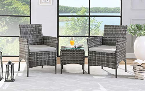 Salbay Rattan Garden Furniture Set 3 Patio Conservatory Indoor Outdoor Coffee Table and 2 Single Chairs (Grey)