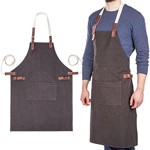 ONVAYA® delantal de cocina premium para hombres y mujeres, delantal de algodón 100% con detalles de cuero