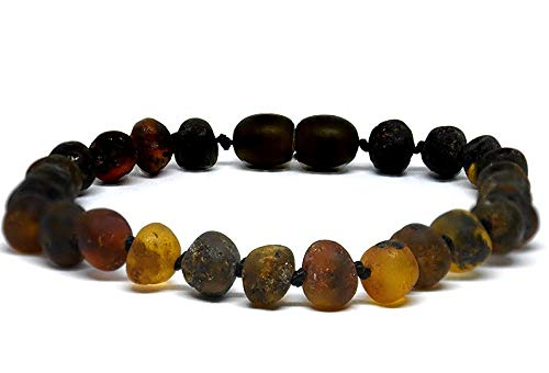 Unpolished Green Genuine Baltic Amber Bracelet/Anklet Adult Sizes 18-25 cm, Beads Knotted, Extra Large Beads (19)