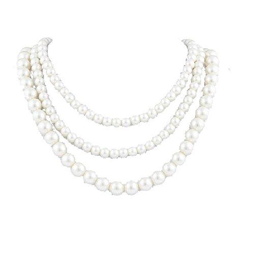 Kette Halskette Perlenkette Perlenschmuck Kunstperlen Dreireihig Cream