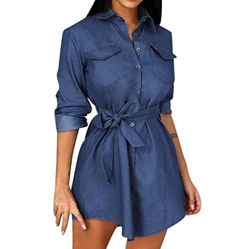 Mini Robe en Dentelle Sexy en Denim pour Femmes Chemise Boutonnée Mini Robe Jeans Hauts Longs