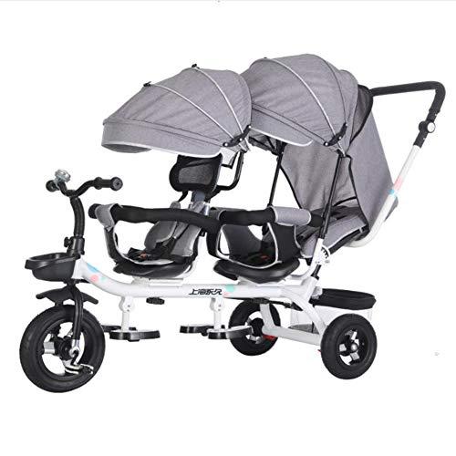 Kinderwagen driewieler voor kinderwagen, laag, tweelingen, 1-7 jaar, baby, jongens, meisjes, luifel, verstelbaar, opvouwbaar, grijs