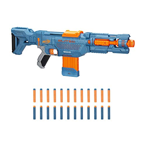 NERF Elite 2.0 Echo CS-10 Blaster -- 24 Official Darts, 10-Dart Clip, Removable Stock and Barrel Extension, 4 Tactical Rails