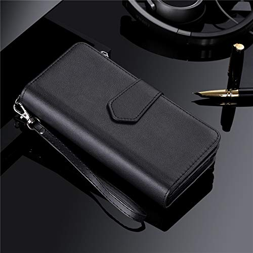 DingSORA Cases Magnetic Case for Samsung S20 Ultra S10 S9 S8 Plus Note 20 10 9 8 Leather Wallet Card Cover for iPhone 11 Pro XS Max XR 8 7 Case (Color : Black)