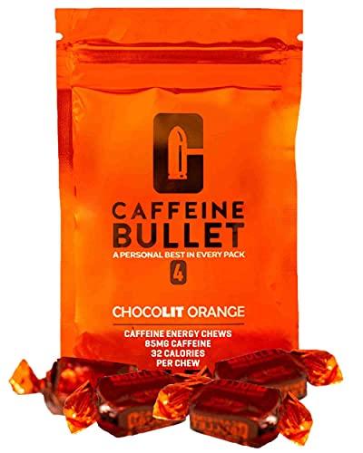Caffeine Bullet 16 caramelo de naranja chocolate: superan a los gel energ'ticos, cafeina chicle y cpsulas. Nutrici¢n deportiva para correr maraton, ciclismo, gimnasio y entrenamiento resistencia
