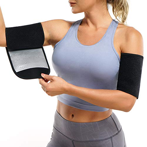 Wonderience Arm Trimmers for Women Pair Sauna Sweat Arm Shaper Bands Adjustable Arm Trainer Toner Sleeves for Sports Workout (Silver, One Size)