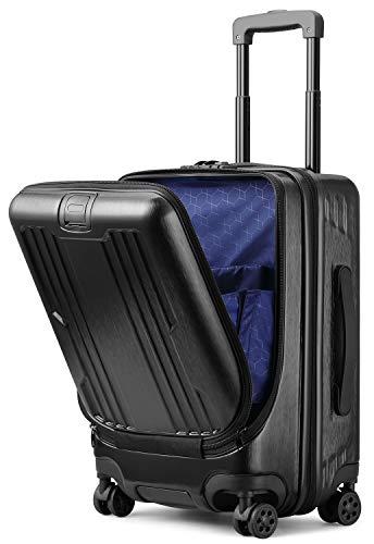 Roam.Cove スーツケース 前開き キャリーケース 機内持ち込み フロントオープン パソコン収納 軽量 静音 TSAロック ビジネス シンプル おしゃれ Sサイズ (ブラック)