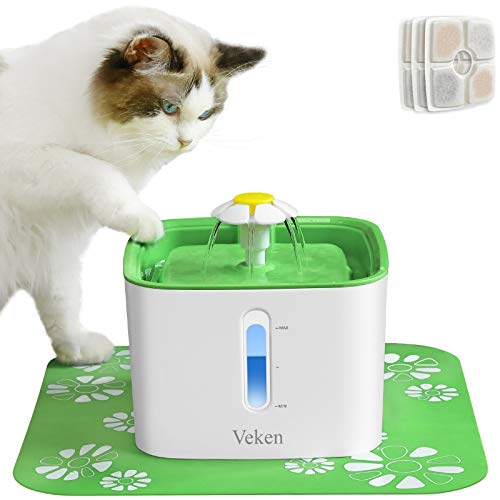 Veken Cat Water Fountain, 84oz Automatic Pet Water Fountain Dog Water Dispenser with 3 Replacement Filters & 1 Silicone Mat for Cats and Small to Medium Dogs (Green)