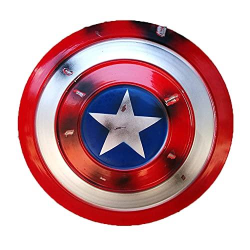 Capitán América Escudo de Metal, Viento Industrial Capitán América Escudo Retro Pared Escudo Creativo Decoración de Barra Reloj de Pared Decoración muda Disfraz de superhéroe Traje A, 47cm