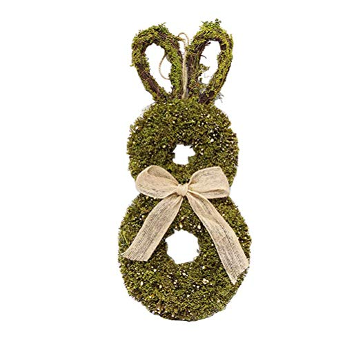 Yooyg Easter Bunny Garland, Rattan Circle Wreath Ornaments, Bunny Shape Home Decoration Pendant Window Props, for Home Easter Party Supplies