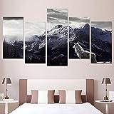 5 piezas de lienzo de montaña de nieve lobo solitario listo para colgar para...