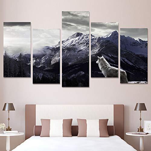 5 piezas de lienzo de montaña de nieve lobo solitario listo para colgar para decoración moderna de sala de estar, dormitorio, oficina,