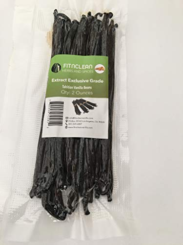 Vanilla Beans Extract Grade - Tahitian  2 Ounces (1/8 Lb) Grade B Bulk  Whole Natural Raw NON-GMO PODS