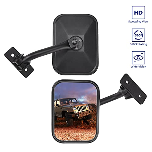 Upgraded Mirrors Doors Off Compatible with Wrangler, QMPARTS No Vibrate & Wobble Side View Mirrors, Easy-Install Quick Release Mirror Relocation Kit for Wrangler TJ JK JKU 1996 - 2018