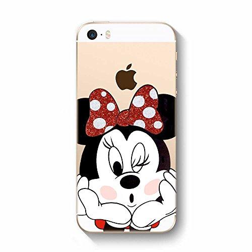 IP5 5S SE Cover in TPU Gel Trasparente Custodia Protettiva, Glitter Special Collection, Disney Minnie Mouse, iPhone 5 5S SE