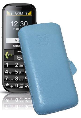Original Suncase Tasche für Doro 5516 Leder Etui Handytasche Ledertasche Schutzhülle Hülle Hülle Lasche mit Rückzugfunktion* In Blau