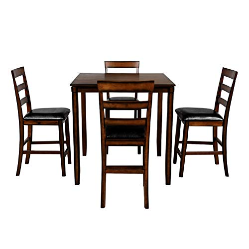 Knocbel Counter Height Dining Table Set for 4, Wooden Kitchen Dining Room Set with Square Table & 4 Padded Chairs (Brown)