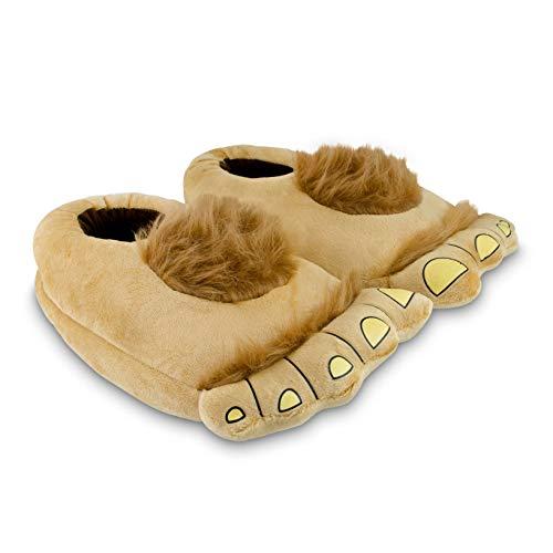 Grinscard Kuschelige Hausschuhe Hobbit Design - Einheitsgröße (ca. 36 bis 44) - Warme Pantoffeln aus Plüsch