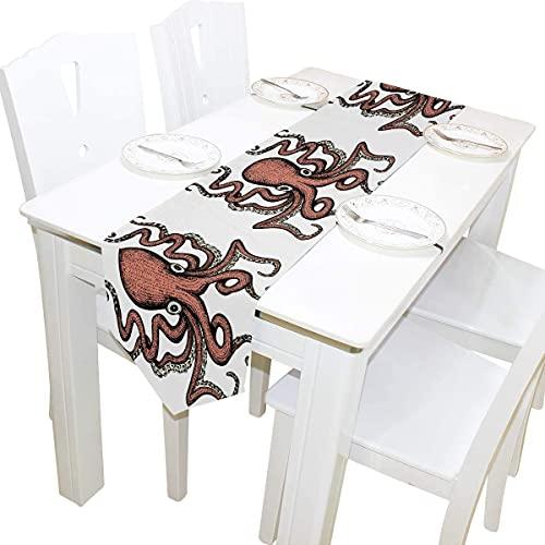 MODORSAN 13x70 Zoll Langer Tischläufer Octopus Ozean Meer Tier Dekorative Polyester Tischläufer Tischdecke für Zuhause Kaffee Küche Esstisch Party Bankett Urlaub Dekoration