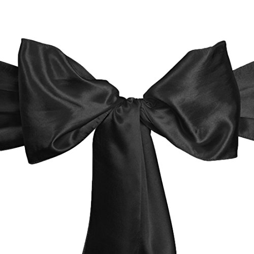 LinenTablecloth Satin Sash (10-Piece) Black
