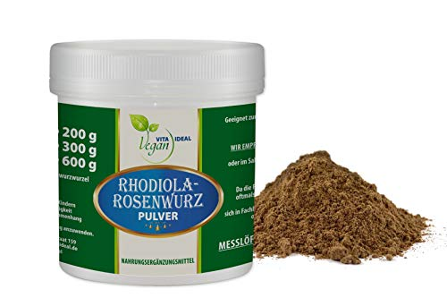 VITAIDEAL VEGAN® Rosenwurz Wurzel Pulver (Rhodiola rosea) 150g inklusive Messlöffel, rein natürlich ohne Zusatzstoffe.