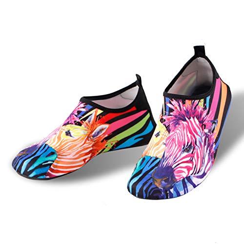 VAST Calzado de playa resistente al desgaste y transpirable, para verano, al aire libre, para río, aguas arriba, calcetines de playa antideslizantes (talla 38 – 39 (apto para 36 – 37), color: cebra)