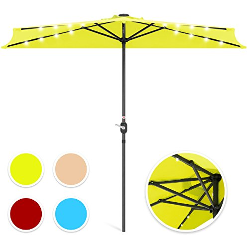 Best Choice Products 8.5-Foot Steel Solar LED Patio Half Umbrella w/Easy Crank and Wind Vent, Light Green